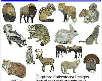 Embroidery Design CD - Forest Animals(1) - 15 Designs - 9 Formats - Threadart