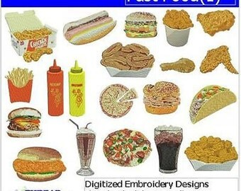 Embroidery Design CD - Fast Food(1) - 20 Designs - 9 Formats - Threadart