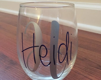Initial Decal for Wine Glass, Yeti, Ozark Trail, Rtic, Notebook