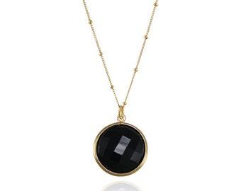 Black Onyx Necklace, Gemstone Charm Necklace, Black Gemstone Necklace, Silver Pendent Necklace, Round Gemstone Necklace, Bezel Set Necklace