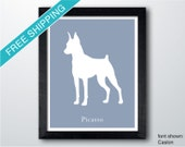 Personalized Miniature Pinscher Silhouette Print with Custom Name (Cropped Ears) - Miniature Pinscher art