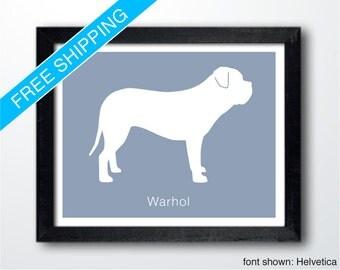 Personalized Dogue de Bordeaux Silhouette Print with Custom Name - dog portrait, dog home decor