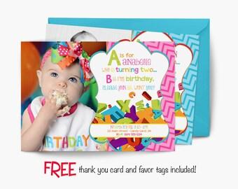 ABC Birthday Invitation, first birthday party invitation, alphabet party, party invitation printable, FREE thank you card