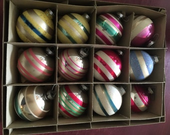 Vintage Christmas ornaments, mid century ornaments, striped christmas ornaments, hand painted, made in the USA, George Frank & Sons CO.