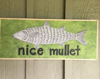 Nice Mullet mixed media piece.  18.25x7.5 inches