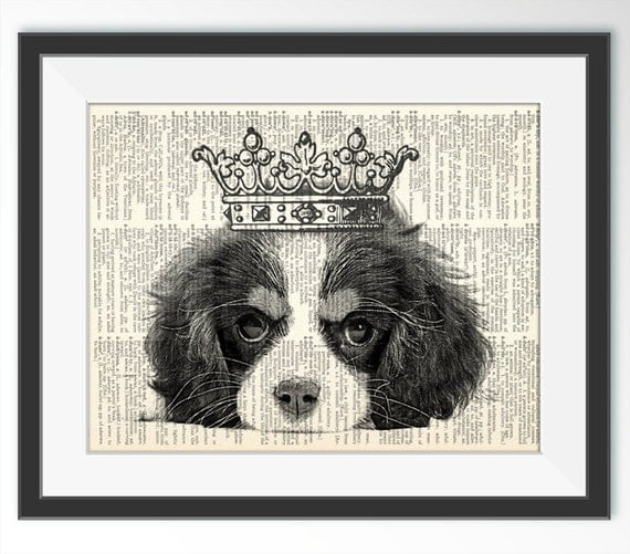 Cavalier King Charles Spaniel With Crown Dictionary Art