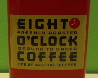 Original Promo 1950's Eight O'Clock Coffee Advertising Savings Bank - Free Shipping