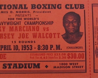 Original 1953 IBC Rocky Marciano vs. Jersey Joe Walcott Chicago Boxing Heavyweight Championship Ticket - Free Shipping