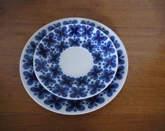 Rorstrand Mon Amie Sweden Blue Flower Pattern Plate and Saucer