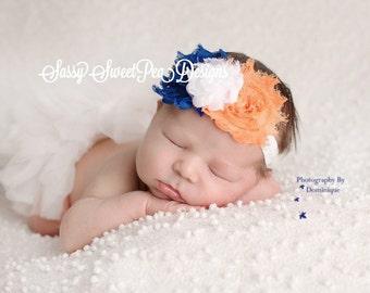 Denver Broncos/Chicago Bears/Syracuse University inspired Shabby Flower Headband.... Newborn, Baby, Girls Photo Prop Bow