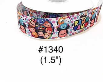 """3 or 5 yards - 1.5"""" Tsum Tsum and Friends on White Grosgrain Ribbon Hair bow"""