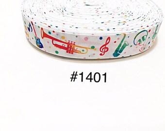 "3 or 5 yard - 7/8"" Music Musical Equipment and Note Polka Dot on White Grosgrain Ribbon Hair bow"