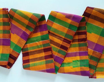 Authentic African Kente Cloth Stole, Scarf, Made in Ghana, Multi-Color, Personalized Embroidery Optional