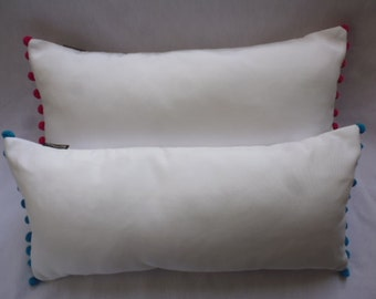 white coton pillow (CHOOSE COLOR of pompons)