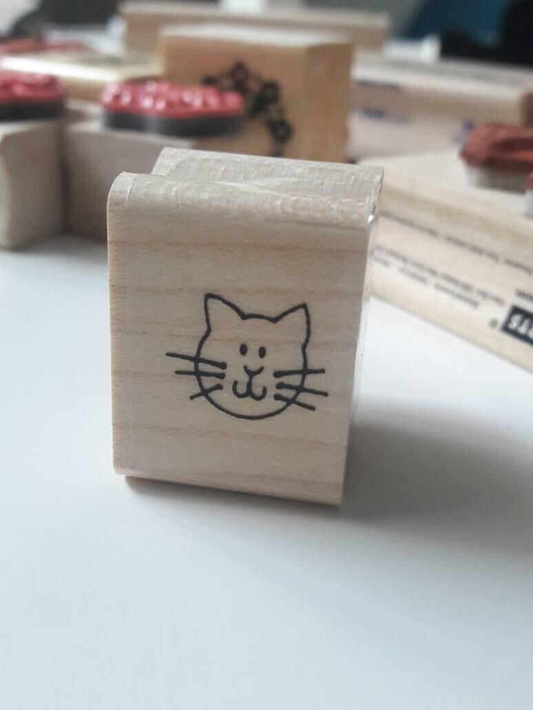 Rubber stamp craft supplies - Tiny Cat Kitten Face Wood Mounted Rubber Stamp Craft Supplies