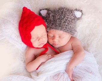 Newborn Little Red Riding Hood and Wolf Hats