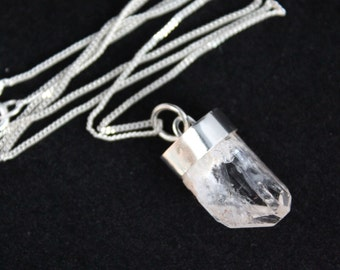 Danburite Crystal Point Sterling Silver Pendant