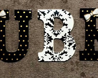 Black, White & Gold Damask Wooden Letters