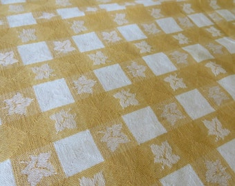 Tablecloth GOLD and White  //  Small Square Shape  //  Gold and White with Leaf Pattern  //  Picnic Cloth  //  Small Tablecloth  //