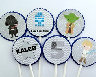 Blue and Gray Star Wars Cupcake Toppers