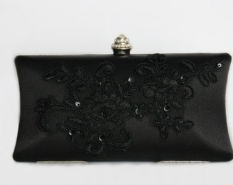 Lace black clutch evening bag