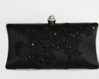 Lace black clutch evening bag