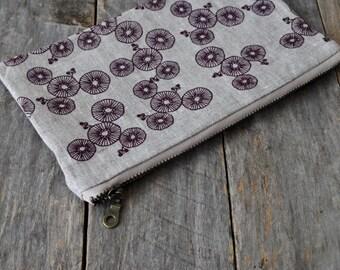 Hand Screen Printed Linen Zipper Pouch, B