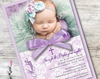 Photo Baptism Invitation Girl Photo Christening Invitation Purple