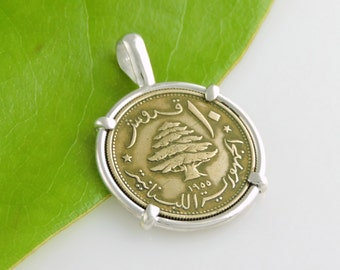 Vintage Lebanon 10 Piastres Coin Jewelry in Handmade Pendant Setting