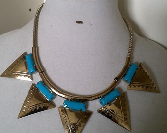 Gold and Blue Fashion Necklace