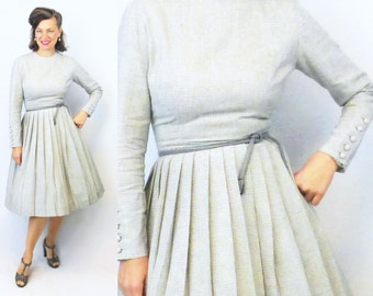 1960s Dress / 60s Dress / Day Dress / 50s Dress / 1950s Dress / Secretary Dress / Long Sleeve Dress / Winter Dress / Wool Dress / Gray / W25