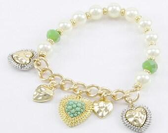 Pearl Heart Charm Stretch Bracelet, Valentine's bracelet, Heart Bracelet