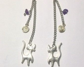 Earrings double chains with Amethyst chips