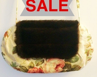 SALE!!! Handmade bag using Sanderson floral fabric with faux fur