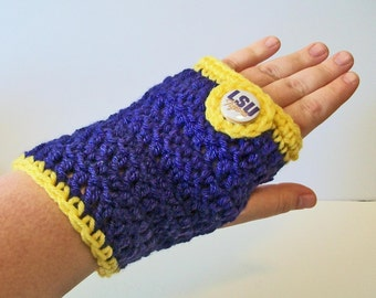 Trendy Purple and Gold Tigers Hand Crocheted Fingerless Gloves 3 Sizes Available
