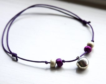 Boho Bell Anklet Purple Cord Beaded with Silver Jingle Bell Ankle Bracelet Hippie Gypsy Jewellery