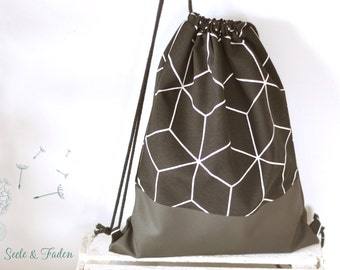 Ella - Hippster / Gymbag mother-of-Pearl black honeycomb