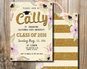 Graduation Invitation, Graduation Announcement, Double sided Golden Glitter Graduation Invitation, Watercolor flowers, DIY