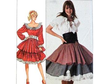 80s Vintage Dress Pattern Peasant Blouse Pattern Ruffled Peasant Skirt Pattern / Simplicity 8447 SZ 10 12 14 Womens Vintage Sewing Patterns