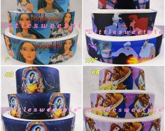 "1"" & 7/8"" Princess Movie-Cartoon Printed Grosgrain ribbon hair bow scrapbooking supplies"