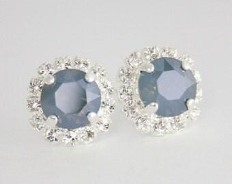 Blue bridal earrings,steel blue wedding,steel blue earrings,something blue,dusty blue,Swarovski,blue bridesmaid earrings,dusty blue wedding