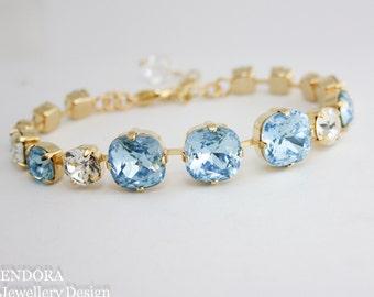 Aquamarine bracelet,aquamarine,march birthstone,Swarovski aquamarine,Swarovski,gold aquamarine bracelet,aquamarine wedding bracelet,aqua