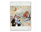 """Serenade 5x7"""" greeting card - a dapper cat fiddling on a light blue violin to a happy squirrel in a budding tree"""