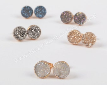 Gold Plated 10mm Round Natural Agate Titanium Rainbow Color Druzy Stud Earrings Drusy Post Earring Gemstone Jewelry G0911