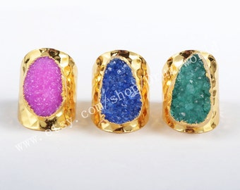 Wholesale Gold Plated Rainbow Agate Druzy Geode Ring Cuff Gold Plating Natural Druzy Ring Handmade Gemstone Druzy Stone Geode Jewelry G0341