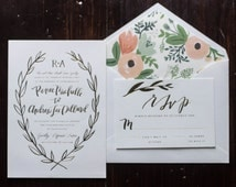 Letterpress Gold Foil Wreath - Wedding Invitation Suite