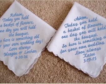 Flower Girl Handkerchief, mother of the bride/ groom, personalized monogram, custom hankies,embroidered hanky,