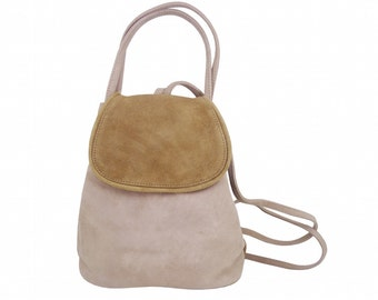 Mini bag backpack COACHELLA Greige Suede, Brown.