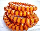 10 Bronzed Orange Czech Glass Beads Rondelle Beads 9 mm x 6 mm