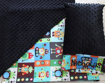 Robot Nap Mat Cover - Boys or Girls - Choose Your Colors - Kindermat - Back To School - Pillowcase - Blanket - Minky - Embroidery